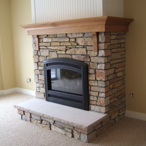 Fireplace With Stone And Cherry Crown